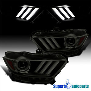 For 2015-2017 Mustang 18-20 Shelby Black Smoke Projector Headlights LED Strip