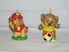 "2 ""Sports"" Animal Candles Chipmunk & Bear 1986 Designed by AVAA Unburned 4"" Tall"