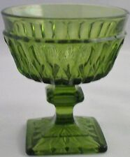 Indiana Glass Mount Vernon Square Footed Green Sherbert Glasses (3)