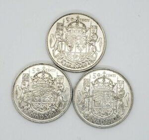 Lot Of 3 1946 Canada Silver 50 Fifty Cents Coin