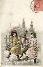 Carte Humour Illustré Lapin humanisé entre deux jeunes filles