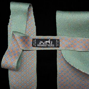 HERMES PARIS 100% SILK RARE Green Textured Knit Tie Luxury made in ITALY