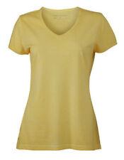 T-shirt, maglie e camicie da donna a manica corta gialli con scollo a v