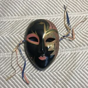 Black Gold Pink And Green Hand Painted Decorative Facemask
