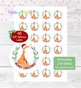 Fox Christmas Stickers/Envelope Seals, 48 Round Labels For Cards/Gifts