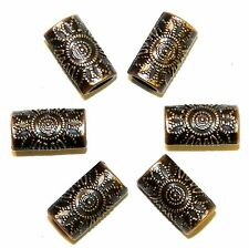 MBL3134 Antiqued Copper Dotted Flower 14mm Flat Oval Tube Metal Beads 50pc