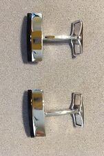 Dunhill Logo Design Sterling Silver Bezel Set Onyx Men's Cufflinks