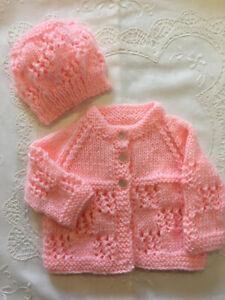 * Premature * 2 Piece Baby/Dolls Jacket Set * Coral * Aust Hand Knitted