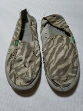 SANUK Size 9 Animal Print Slip On Boat Shoes Ballet Flats Womens CL1112 EUC Yoga