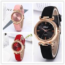 Fashion Leather Strap Round Dial Women Girl Analog Quartz Wrist Watch Gift