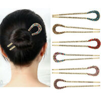 Women Vintage Traditional Metal Rhinestone Hairpin Stick Fork Hair Accessory