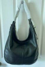NWT Frye Gia Collection Large Black Soft Slouchy Grain Leather Hobo Shoulder Bag