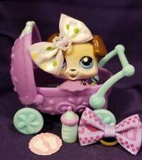 Littlest Pet Shop #143 Baby Boxer Puppy Beige Brown Blue Eyes Stroller Bottle