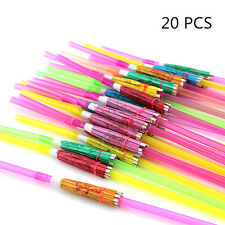 20Pcs Assorted Hawaiian Cocktail Umbrella Drinking Juice Straw Cute Party Decor
