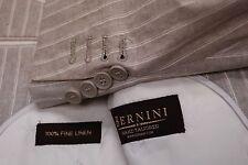 Immaculate BERNINI 3B pure linen summer pinstripe men's suit 44L 44 L long