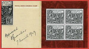 1929 £1 PUC Block of 4. Royal Mail 2010 Repro. Pack