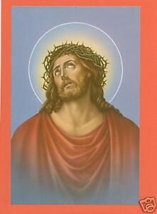 VINTAGE Catholic Large holy card SORROWFUL JESUS Postcard size