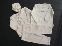 BNWT Baby Girls Sz 1 Year Jelly Beans Brand Cute Cream Top Pants Jacket Hat Set