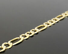 "14k Yellow Gold Bracelet Figaro Chain Hollow 4mm 7"" inch 4 MM"