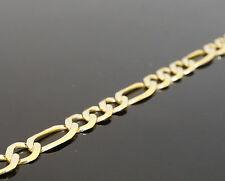 "14k Yellow Gold Bracelet Figaro Chain Hollow 4mm 7"" inch 4 MM"