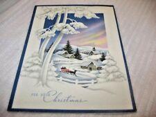 ART DECO 40'S SNOW SCENE NOTHERN LIGHTS LIGHTED HOUSES HORSE SLEIGH XMAS CARD