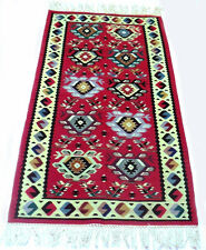 "Antique vintage tribal handmade hand-knotted kilim rug (32"" x 66"") pure wool  #1"