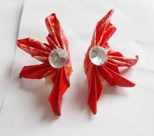 VINTAGE 80'S HANDMADE PAPER ORIGAMI RED LUCITE CRYSTAL STATEMENT EARRINGS