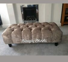 Mink Crush Velvet Ottoman Chesterfield Footstool seat bench Coffee Table
