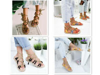 Women Summer Sandal Flat Shoes Weave Hemp Rope Lace Up Cross Tied Non-slip Shoes