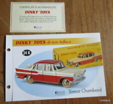 Dinky toys atlas/record + certificate simca chambord ref 24 k
