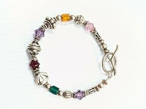 Artisan Sterling Silver 925 Rainbow Glass Bead Toggle Bracelet 7.5 Inches