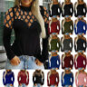 Plus S-5XL Women Lace Crochet Floral Bell Sleeve Loose Blouse Tops Shirt Long