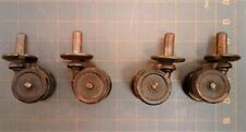Set 4 Antique Double Wooden Wheeled Victorian Furniture Casters 1870s Era Rare