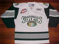 Everett Silvertips Reebok WHL CHL U.S. Junior Hockey Adult White Green Jersey S