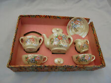 "Occupied Japan Childrens Tea Set Luster, Flowers, Box No Lid is 10""x6.5"" Vintage"
