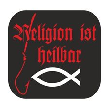 wetterfest Aufkleber Religion ist heilbar Fisch 666 lustig bild spruch 2 größen