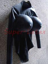100% Latex Rubber Gummi 0.40mm Catsuit Leotard Inflatable Chest Suit Black New