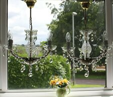 PAIR VINTAGE MARIE THERESE STYLE 3 LIGHT GLASS CRYSTAL CHANDELIERS #O