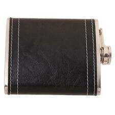 1pc Fashion 7oz Men Black Stainless Steel &Pu Leather Flask Hip Pocket Alcohol J