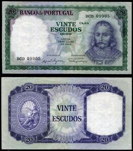 PORTUGAL 20 ESCUDOS 26-12-1960 P 163 VF