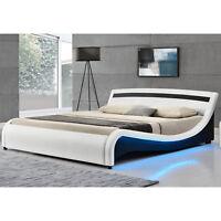 Design en Cuir LED  Lit confort+Sommier Double 140 ou 180 x200 bed BLANC ou Noir