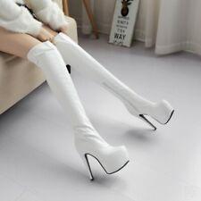 New Ladies Stiletto High Heel Platform Overknee Long Boots Shoes Big Size 34-48