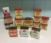 Lot of 14 Vtg Spice Tins Advertising Ann Page Mccormick Sauer's Nyla's Purpac