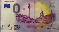BILLET 0  EURO WARSZAWA VARSOVIE POLOGNE 2019-1 BILLET EPUISE