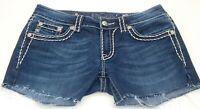 Miss Me JJS5014B58 Embellished Blue Cotton Denim Jean Shorts Size 29