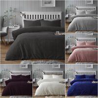 New Chunky Ribbed Teddy Sherpa Fleece Duvet Cover Set Soft Warm Cosy Bedding Set