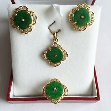 - 14K Yellow Gold Green Jade - O3 Jewelry set of Jade Earring, Pendant, and Ring