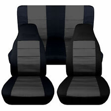 Jeep wrangler YJ  Front+Rear car seat covers Black-Charcoal COTTON ,MORE AVBL