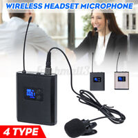 Dual Channels UHF LCD Wireless Microphone System Headset Lavalier Mics  ✔