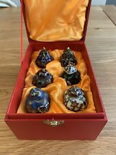 More details for set of six chinese small cloisonne jars in a gift box